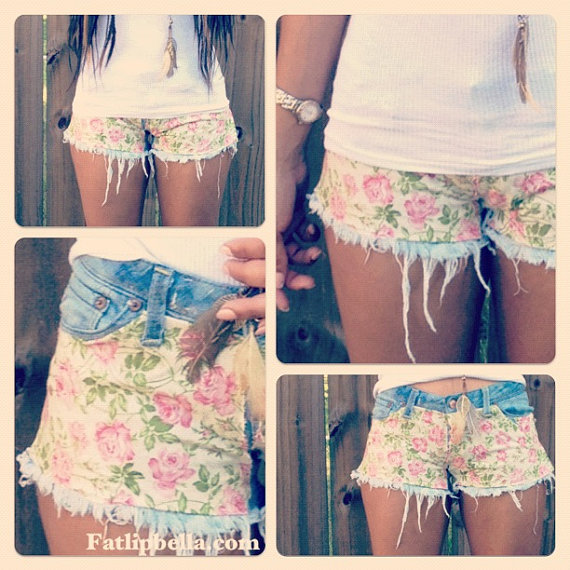 Floral print and frayed low rise cut off shorts (made to order. )