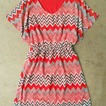 Fluttering Zig Zag Dress [3117] - $42.00 : Vintage Inspired Clothing & Affordable Summer Dresses, deloom | Modern. Vintage. Crafted.