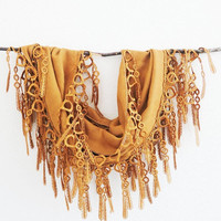 Summer Sale Caramel Golden Rustic Lace Cotton Pashmina Fashion Scarf