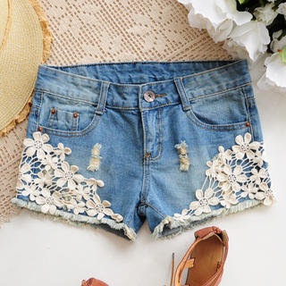YESSTYLE: Angel Love- Floral Crochet-Detail Denim Shorts - Free International Shipping on orders over $150