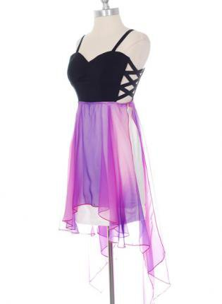 Chiffon Purple&amp;Black High Low Dress with Criss Cross Sides