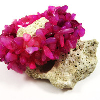 PINK CORAL Gemstone Cuff Bracelet, Summer Trends, Fashion, Beach Accessory, Women