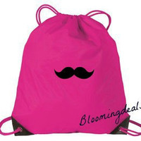 Cinch Sack Tropical Pink Embroidered Mustache
