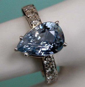 4 CT VINTAGE ESTATE NATURAL LIGHT VS CORNFLOWER SAPPHIRE & DIAMOND RING 18K WG!