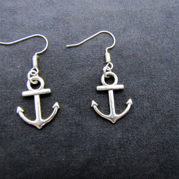 ancient vintage style,silvery anchor earrings,unique earrings EH44