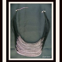 Layered Silver Pewter Bead Jewelry Handcrafted Multi Strand Pewter Necklace
