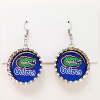 Bottle Cap Earrings University of Florida Gators UF