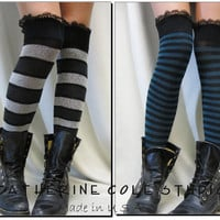 gothic steampunk over the knee striped boot socks lightweight knit thigh high great with combat boots funky flirty school girl