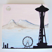 Seattle Space Needle with Ferris Wheel-Mixed Media Art on Upcycled Wood Block