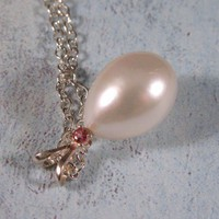 AAA Pink Tourmaline, Freshwater Pearl and sterling silver necklace