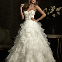 Ivory &amp; Silver Embellished &amp; Ruffled Organza Strapless Sweetheart Wedding Gown - Unique Vintage - Homecoming Dresses, Pinup &amp; Prom Dresses.