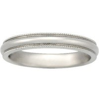 18K White Gold 3mm Milgrain Wedding Ring