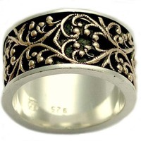 Sterling silver and rose gold filigree wedding band - Karma.