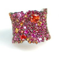 Lunar Ruby & Orange Sapphire Ring