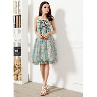 Sleeveless Floral Chiffon Dress - Designer Shoes|Bqueenshoes.com