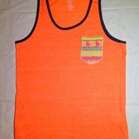 Tuanis — Summer Collection Tank Top - Neon Orange w/ pink