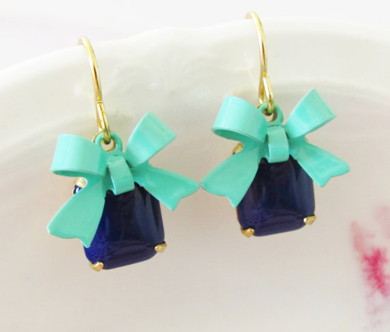 Turquoise Bow Earrings - Navy Blue Vintage Glass Jewel and Turquoise Enamel Bow Dangle Earrings - Preppy, Wedding, Bridal, Bridesmaid