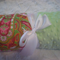 PERSONALIZED Minky Baby Blanket  Hot Pink Lime Green by kvill