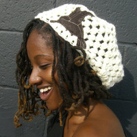 Cream Slouchy Hat with Brown Hummingbird