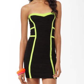 Neon Trim Tube Dress