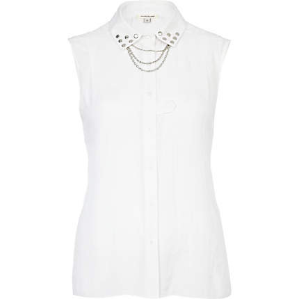 white sleeveless stud and chain shirt