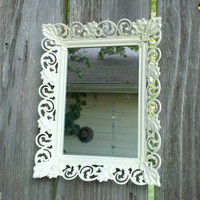Wall Mirror in Vintage Metal Filigree Frame - 9 by 7 inch Chic White