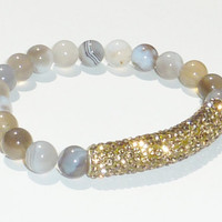 NEW-Beaded Bracelet with Semiprecious Gemstone Persian Gulf Agate and Gold Crystal Bar