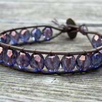 Purple Beaded Brown Leather Single Wrap Bracelet