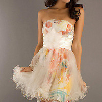 Short Strapless Print Dress with Tulle Skirt