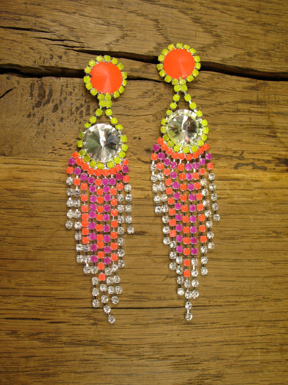 Aztec Crystal Drape Earrings in Hibiscus, Purple and Neon Yellow