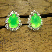 Tropical Green Crystal Teardrop Silver Plated Earrings