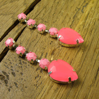 Beautiful Neon Pink and Baby Pink Crystal Teardrop Post Earrings