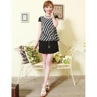 Short-sleeved Round Neck Slim Striped Chiffon Dress Black - Designer Shoes|Bqueenshoes.com