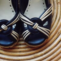 VinTage Women's Pumps // Navy and White Heels // Sailor Wedges // Size 5M