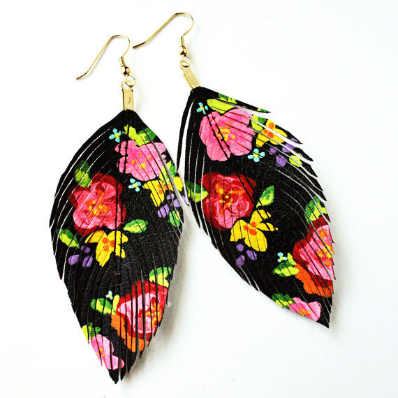 Floral Fashionista - BLACK - Hand Painted  Faux Leather Feather Earrings 14k Gold - Free Shipping