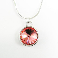 Rose Peach Rivoli Necklace - on Sterling Silver Chain - Swarovski Crystal