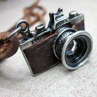 soft leather necklace camera pendant men leather long necklace, women leather necklace  PL-XJ