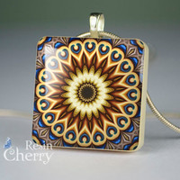 kaleidoscope scrabble tile pendant,art jewelry pendants,resin pendants- T0577SP