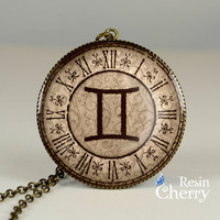 Gemini necklace pendants,jewelry pendants,Zodiac pendant charms,Zodiac resin pendants- T0634CP