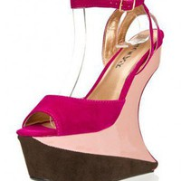 PINK COLORBLOCK HEELESS PLATFORM WEDGE @ KiwiLook fashion