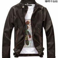 Coffee Stand Collar Men Zipper Cultivation Faux Leather M/L/XL/XXL@dat0126c