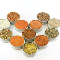 BBQ Spice Kit - Dry Rub and Marinade Spice Sampler - 8 BBQ herb & spice mixes for outdoor cooking with fire - gift box included