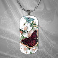 Flowers and Butterflies Glass Pendant