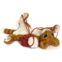 Ginger rolling cat - made to order - wool soft sculpture collectible
