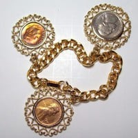Vintage 70s US Coin Charm Bracelet