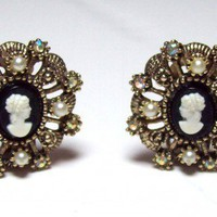 Vintage Hope Chest Seed Pearl and Rhinestone Cameo Earrings