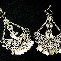 Vintage Sterling Silver Chandelier Earrings