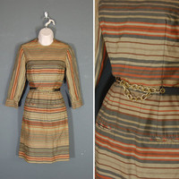 Vintage Dress / Mod Mini Dress / Earth Tones / Small / 1960's
