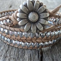 Leather Wrap Bracelet, 3x Wrap Bracelet Silver Glass beads, Wrap bracelet, boho glam, boho chic, country western bling, rustic bohemian