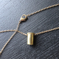 Baby Brass Bullet Necklace - .22 Caliber Shell Casing